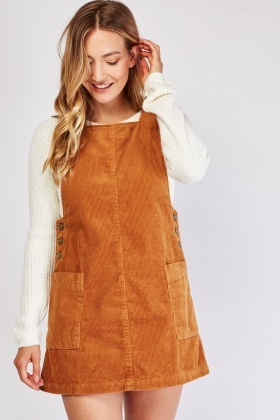 Camel Corduroy Pinafore Dress
