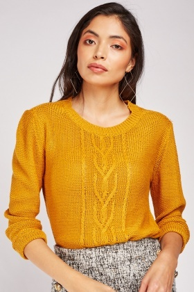 Centre Front Cable Knit Jumper