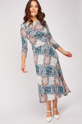 Contrasted Flower Print A-Line Dress