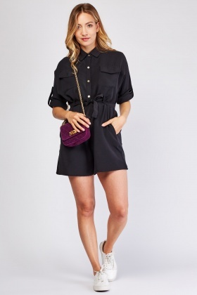 Flap Pocket Front Utility Playsuit