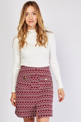 Geometric Pattern A-Line Skirt