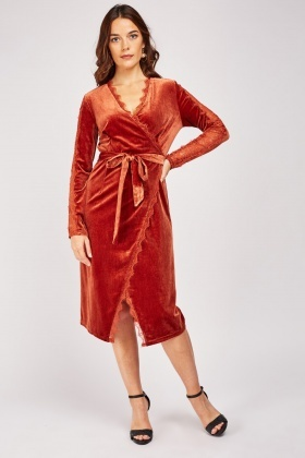 Lace Trim Velveteen Wrap Dress