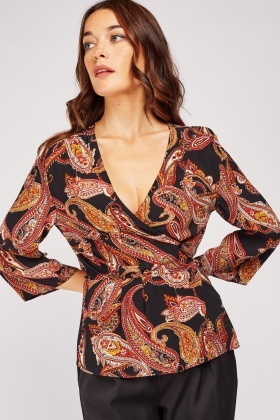 Mix Paisley Print Wrap Blouse