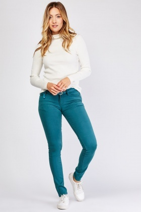 Skinny Fit Green Chino Trousers