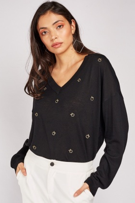 V-Neck Apple Embroidered Jumper