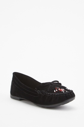 Beaded Front Suedette Moccasins