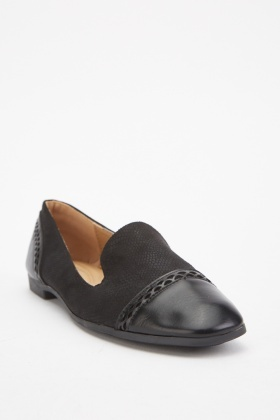 Black Contrast Loafers