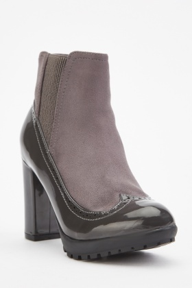 Contrast Heeled Brogue Boots