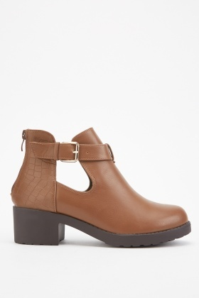 Cut Out Side Buckled Ankle Boots £5.00