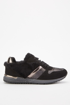 Faux Fur Contrast Low Top Trainers