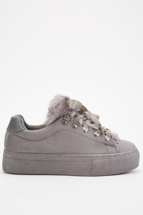 Faux Fur Trim Suedette Shoes