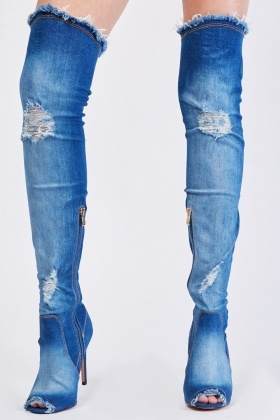 Row Edge Denim Open Toe Knee High Boots