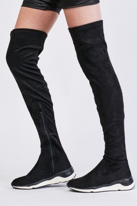 Suedette Knee High Trainers Boots