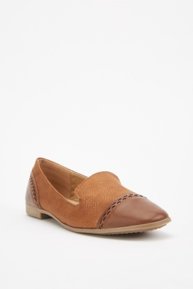 Textured Shimmery Contrast Loafers