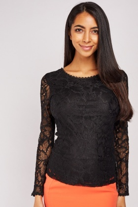 Long Sleeve Lace Overlay Top £5.00
