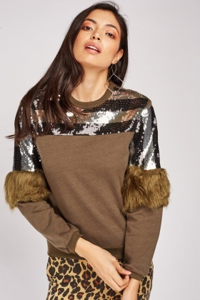 Sequin Stripe Fur Trim Sweatshirt