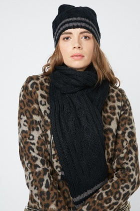 Cable Knit Beanie Hat And Scarf Set