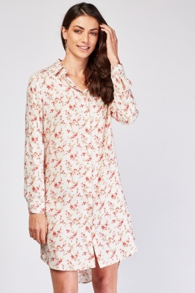 Ditsy Floral Print Shirt Dress