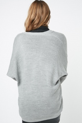 Grey Batwing Sleeve Cardigan