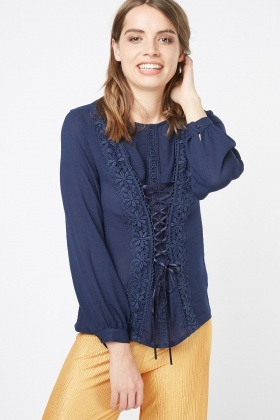 Lace Crochet Overlay Top