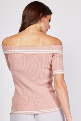 Off Shoulder Lurex Rib Top
