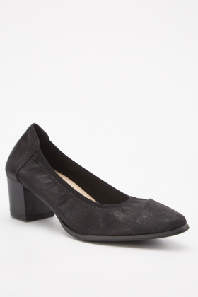 Elasticated Edge Block Heel Pumps