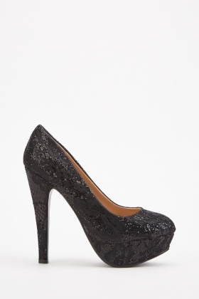 Encrusted Lace Overlay Heeled Pumps