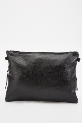 Fringe Trim Textured Clutch Bag