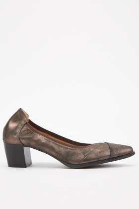 Metallic Textured Block Heel Pumps
