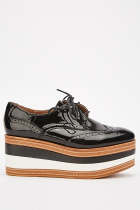 PVC Lace Up Chunky Brogues