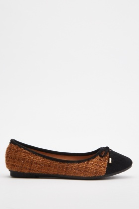Tie Up Tweed Ballet Pumps