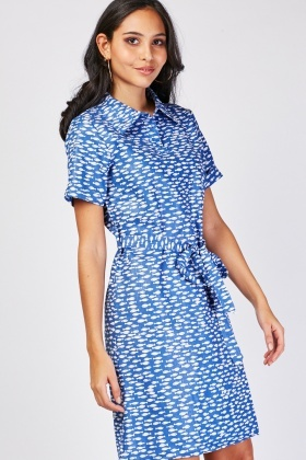 Fish Print Tie Up Dress