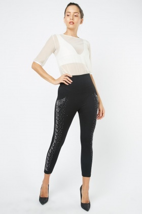 High Waisted Encrusted Leggings