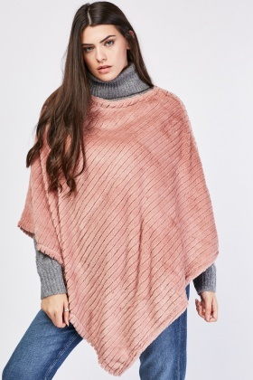 Asymmetric Ribbed Velour Poncho