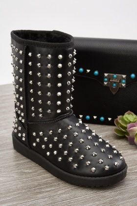 Black Studded Winter Boots
