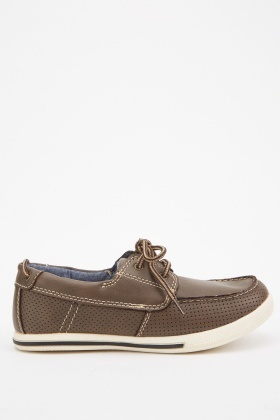 Perforated Lace Up Loafers
