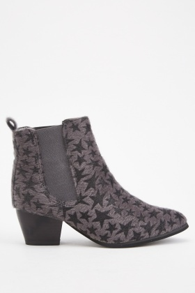 Star Patterned Ankle Boots