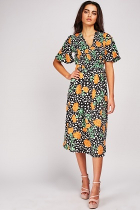 Flower Print Midi Shirred Dress