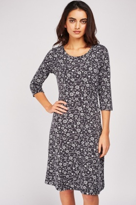 Flower Printed Basic Midi Dress