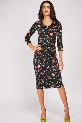 Ribbed Floral Bodycon Dress