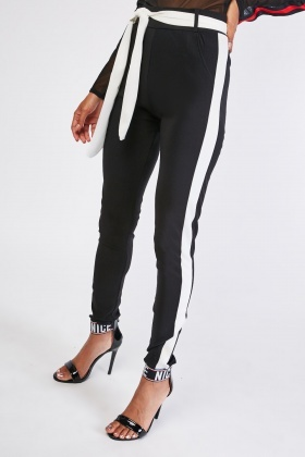 Tie Up Belted Skinny Trousers