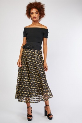Belted Printed Mesh Maxi Skirt