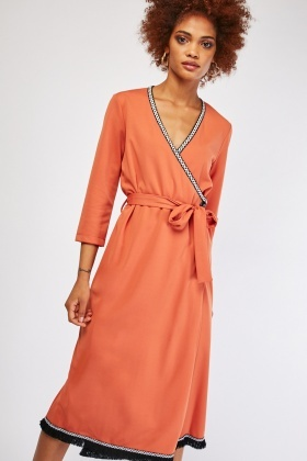Embroidered Fringed Trim Wrap Dress