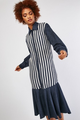 Knitted Contrast Button Up Long Dress