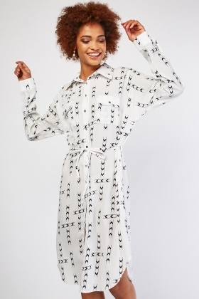 Printed Long Shirt Dress