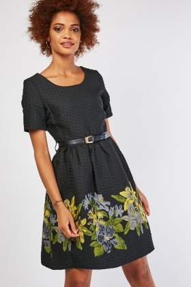 Textured Embroidered Skater Dress