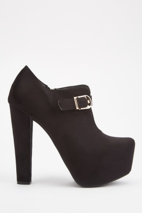 Buckle Strap Suedette Ankle Boots