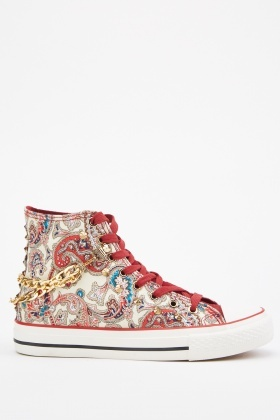 Paisley Print High Top Trainers
