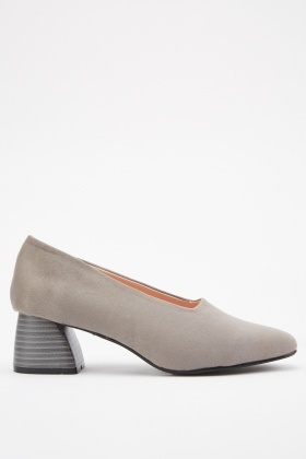 Square Cut Block Heel Pumps