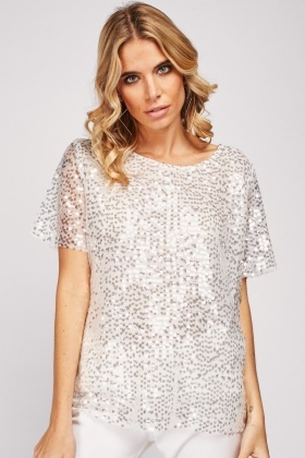 Sequin Embellished Mesh Top